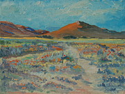 Thomas Bertram Poole Prints - Desert Spring Flowers with Orange Hill Print by Thomas Bertram POOLE