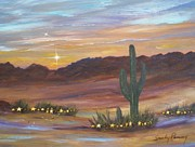 Greeting  Cards. Arizona Paintings - Desert Stars by Sandra Ramsey