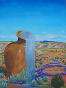 Desert View Paintings - Desert Water Bearer by Annie Horkan
