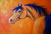 Contemporary Horse Posters - Desert Wind Poster by Theresa Paden