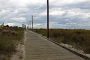 Lightposts Prints - Deserted  Boardwalk I Rehoboth Beach Print by Jim Vansant