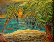 Louise Burkhardt Painting Posters - Deserted tropical sunset Poster by Louise Burkhardt