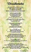 Poem Prints - Desiderata 5 - Words of Wisdom Print by Sharon Cummings