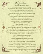 Love Letter Prints - Desiderata Gold Bond Scrolled Print by Movie Poster Prints