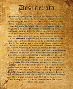 Words Digital Art Prints - Desiderata Print by Kurt Van Wagner