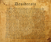 Drawings  Digital Art Framed Prints - Desiderata landscape Framed Print by Kurt Van Wagner
