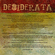 Motivational Posters Framed Prints - Desiderata Framed Print by Michelle Calkins