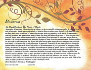 Graduation Mixed Media Posters - Desiderata on Golden Leaves Poster by Claudette Armstrong