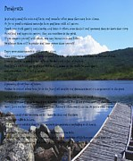 Essential Digital Art Posters - Desiderata on Pond Scene with Mountains Poster by Barbara Griffin