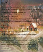 Winter Scene Digital Art Prints - Desiderata on Snow Scene with Cabin Print by Barbara Griffin