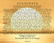 Namaste Paintings - Desiderata Poem on Golden Sunset by Claudette Armstrong