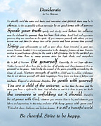Graduation Digital Art Framed Prints - Desiderata - Sky Design Framed Print by Ginny Gaura