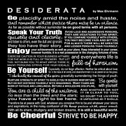 Reverse Art Digital Art Posters - Desiderata - White Text on Black Background - Reversed Type Poster by Ginny Gaura