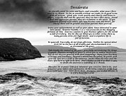 Essential Digital Art Posters - Desiderata with Black and White Seascape Poster by Barbara Griffin