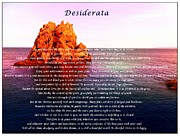 Essential Mixed Media Framed Prints - Desiderata with Ocean and Red Rock at Sunset Framed Print by Barbara Griffin