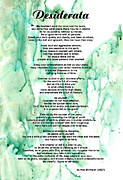 Poem Prints - Desiderata - Words of Wisdom Print by Sharon Cummings
