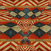 Painted Wood Digital Art Prints - Design 1 -native inspired Print by Jeff Burgess