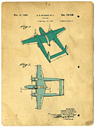 Patent Prints - DESIGN FOR AN AIRPLANE  Howard R. Hughes Print by Edward Fielding