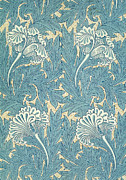 Tapestries Textiles Prints - Design in Turquoise Print by William Morris