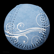 Sports Art Mixed Media - Designer Light Blue Baseball Square by Andee Photography