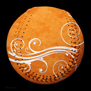 Baseballs Mixed Media Posters - Designer Orange Baseball Square Poster by Andee Photography