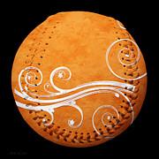 Designer Orange Baseball Square Print by Andee Photography