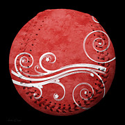 Sports Art Mixed Media - Designer Red Baseball Square by Andee Photography