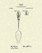 Spoon Drawings Prints - Designer Spoon 1915 Patent Art Print by Prior Art Design