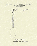 Spoon Drawings Prints - Designer Spoon 1939 Patent Art Print by Prior Art Design