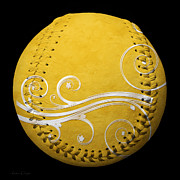 Baseball Art Mixed Media - Designer Yellow Baseball Square by Andee Photography