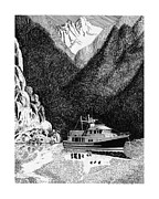 Yachts Drawings Prints - Desolation Sound anchorage Print by Jack Pumphrey