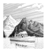 Yachts Drawings - Desolation Sound Grand Banks by Jack Pumphrey