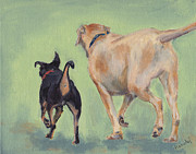 Dog Park Prints - Destin Dog Park Buddies Print by Robin Wiesneth