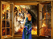 Lion Of Judah Posters - Destinies window Poster by Dolores DeVelde