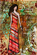 Folk Art Mixed Media Posters - Destiny Inspirational Christian Art Poster by Janelle Nichol