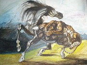 Tiger Attacks A Horse Painting Metal Prints - Destiny Metal Print by Prasenjit Dhar