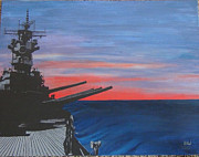 Us Navy Drawings Prints - Destroyer Print by Bruce Ward