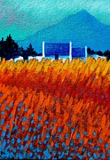 Acrylic Prints Prints - Detail from Golden Wheat Field Print by John  Nolan