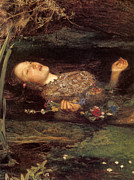 Detail From Ophelia Print by John Everett Millais