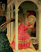 Detail From The Annunciation Showing The Angel Gabriel Print by Fra Angelico