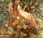 Alphonse Prints - Detail from the Chocolat Masson poster Print by Alphonse Mucha