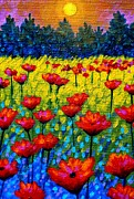 Perspective Paintings - Detail from Twilight Poppies  by John  Nolan