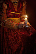 Candle Lit Posters - Detail Of A Medieval Woman Holding A Candle Poster by Lee Avison