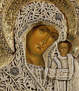 Female Mixed Media Framed Prints - Detail of an icon showing the Virgin of Kazan by Yegor Petrov Framed Print by Russian School