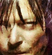 The Walking Dead Mixed Media Framed Prints - Detail Of Daryl Dixon  Framed Print by Janice MacLellan