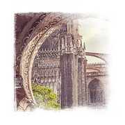 Medieval Temple Posters - Detail of Giralda Tower in Seville. Elegant KnickKnacks Poster by Jenny Rainbow Elegant KnickKnacks