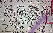 Fab Four Prints - Detail of Graffiti on Abbey Road Sign Print by George Pedro