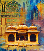National Parks Painting Framed Prints - Detail of Mohatta Palace Framed Print by Catf