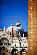 Basilica Di San Marco Prints - Detail of St Mark Basilica and the Campanile Print by Felipe Rodriguez