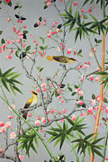 Birds And Flowers Posters - Detail of the 18th century wallpaper in the drawing room photograph Poster by John Bethell